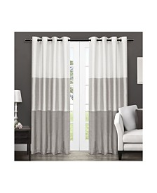 Exclusive Home Chateau Striped Faux Silk Grommet Top Curtain Panel Pair