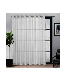 Exclusive Home Belgian Patio Textured Sheer Grommet Top Single Curtain Panel