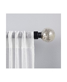 """Silver Aged Sphere 1"""" Curtain Rod and Coordinating Finial Set"""