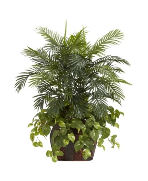 Nearly Natural 3.5' Double Areca w/ Vase and Pothos Silk Plant
