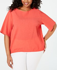 MICHAEL Michael Kors Plus Size Puckered Kimono Top
