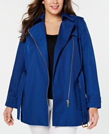 MICHAEL Michael Kors Plus Side-Zip Trench Coat
