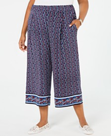 MICHAEL Michael Kors Plus Size Cropped Wide-Leg Pants