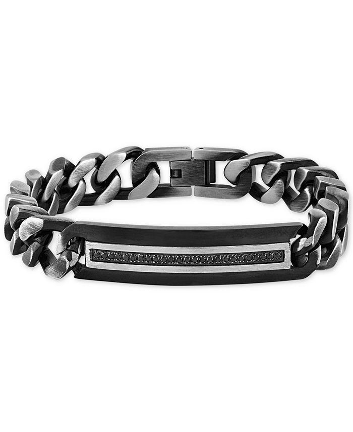Macy's - Diamond ID Plate Heavy Curb Link Bracelet (1/4 ct. t.w.) in Stainless Steel & Black Ion-Plate