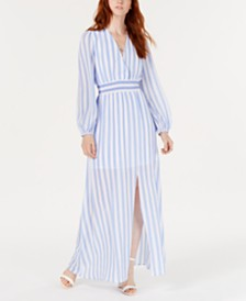 Avec Les Filles Striped Smocked-Waist Maxi Dress