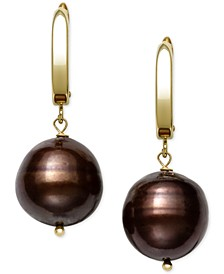 Cultured Dyed Tahitian Pearl (8-10mm) Drop Earrings in 14k Gold