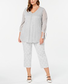 Alfani Plus Size Metallic Top & Printed Capri Pants, Created for Macy's