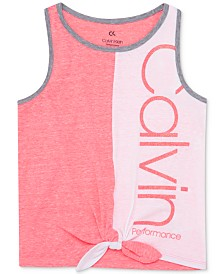 Calvin Klein Performance Big Girls Colorblocked Tie-Front Tank Top
