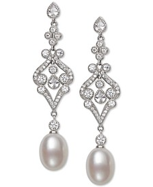 Cultured Freshwater Pearl (8-9mm) & Cubic Zirconia Drop Earrings in Sterling Silver, Created for Macy's