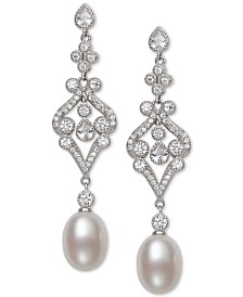 Belle de Mer Cultured Freshwater Pearl (8-9mm) & Cubic Zirconia Drop Earrings in Sterling Silver, Created for Macy's