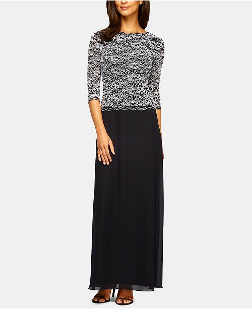 Alex Evenings Embroidered Chiffon Gown