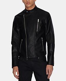 Men's Faux-Leather Moto Jacket
