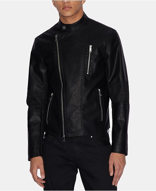 A|X Armani Exchange Men's Faux-Leather Moto Jacket