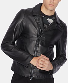A|X Armani Exchange Men's Slim-Fit Leather Jacket