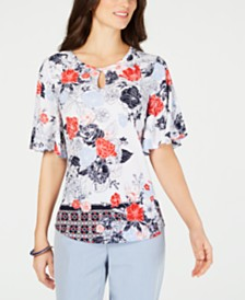 Charter Club Flutter-Sleeve Keyhole Top, Created for Macy's