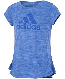 adidas Little Girls Logo-Print Melange T-Shirt