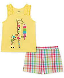 Little Girls 2-Pc. Giraffe Tank Top & Plaid Shorts Set