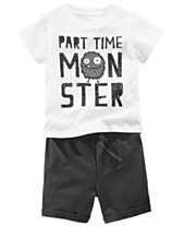8da1cebe6 First Impressions Baby Boys Monster Graphic T-Shirt & Shorts Separates,  Created for Macy's