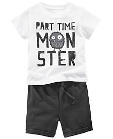 First Impressions Baby Boys Monster Graphic T-Shirt & Shorts Separates, Created for Macy's
