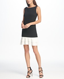 DKNY Tulip Flounce Hem Sheath Dress