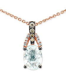 "Le Vian® Sea Blue Aquamarine (1 ct. t.w.) & Diamond Accent 18"" Pendant Necklace in 14k Rose Gold"