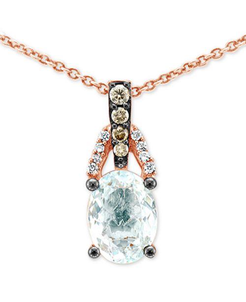 "Le Vian Sea Blue Aquamarine (1 ct. t.w.) & Diamond Accent 18"" Pendant Necklace in 14k Rose Gold"