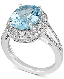 Blue Topaz (6-1/2 ct. t.w.) & White Topaz (1 ct. t.w.) Ring in Sterling Silver