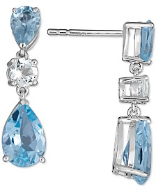 Blue Topaz (5 ct. t.w.) & White Topaz (1/2 ct. t.w.) Drop Earrings in 14k White Gold (also available in Garnet & Amethyst)