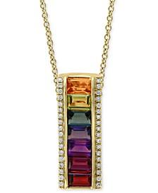 "EFFY® Multi-Gemstone (2-1/2 ct. t.w.) & Diamond (1/8 ct. t.w.) 18"" Pendant Necklace in 14k Gold"