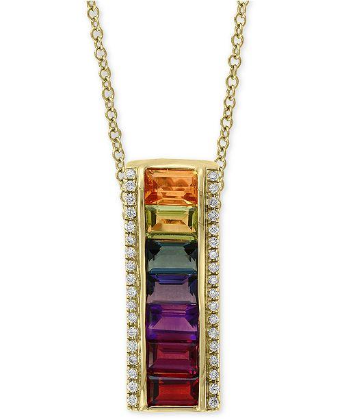 "EFFY Collection EFFY® Multi-Gemstone (2-1/2 ct. t.w.) & Diamond (1/8 ct. t.w.) 18"" Pendant Necklace in 14k Gold"