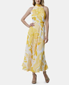 Tahari ASL Printed Halter-Neck Maxi Dress