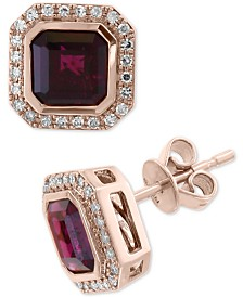 EFFY® Rhodolite Garnet (3-9/10 ct. t.w.) & Diamond (1/4 ct. t.w.) Stud Earrings in 14k Rose Gold