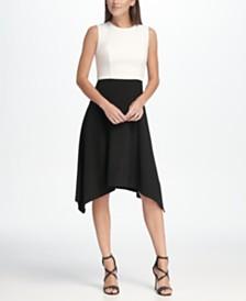 DKNY Colorblocked Handkerchief Hem Dress