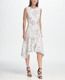 DKNY Abstract Floral Print Handkerchief Hem Dress
