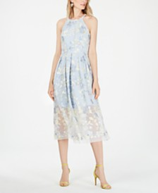 Vince Camuto Petite Floral Embroidered Fit & Flare Midi Dress