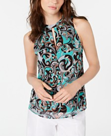 Nanette Lepore Silk Printed Pleated Top