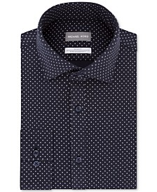 Michael Kors Men's Slim-Fit Non-Iron Performance Knit Neat Print Dress Shirt