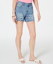 I.N.C. Rainbow-Rhinestone Raw-Hem Jean Shorts, Created for Macy's