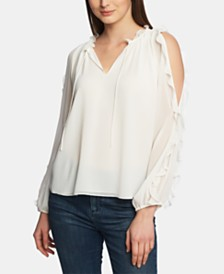 1.STATE Ruffled Cold-Shoulder Blouse