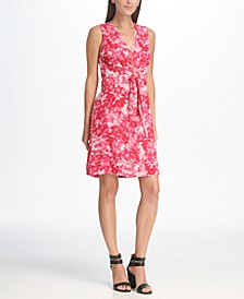 Floral Printed Zip Front A-line Tie Waist Dress