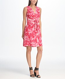 DKNY Floral Printed Zip Front A-line Tie Waist Dress