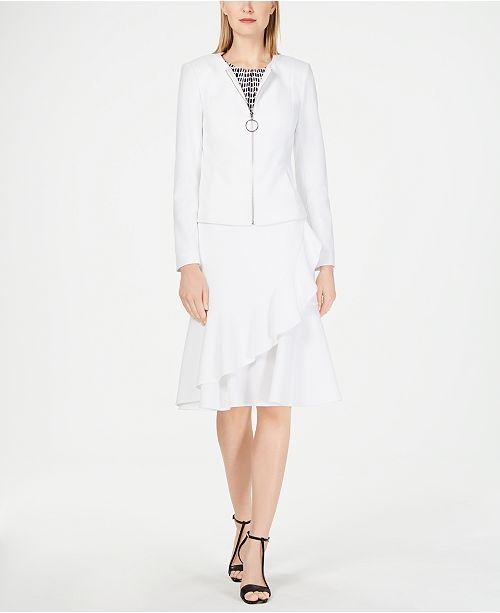 d4f7d93649 ... Calvin Klein Zip-Front Jacket, Sleeveless Pleat-Neck Camisole & Ruffle- Front ...