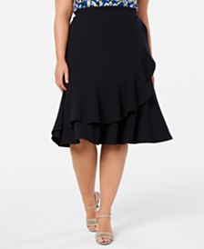 Calvin Klein Plus Size Ruffled Skirt
