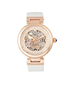 Adelaide Automatic White Leather Watch 38mm