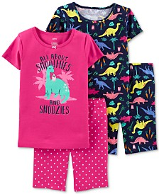 Carter's Little & Big Girls 4-Pc. Cotton Dinosaur Pajamas Set