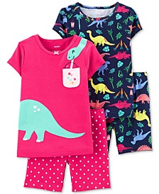 Baby Girls 4-Pc. Cotton Dinosaur Pajamas Set