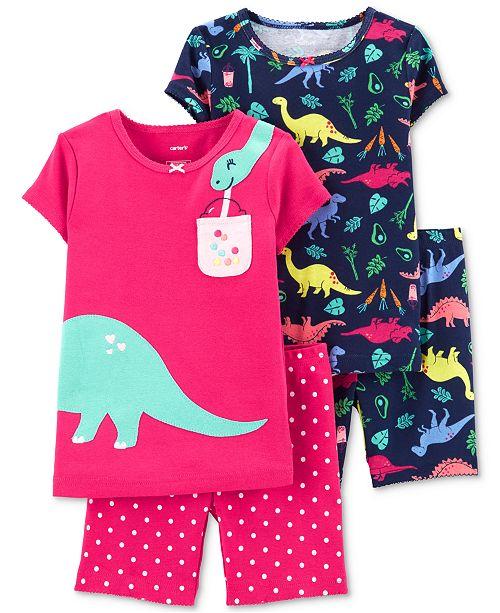 Carter's Baby Girls 4-Pc. Cotton Dinosaur Pajamas Set