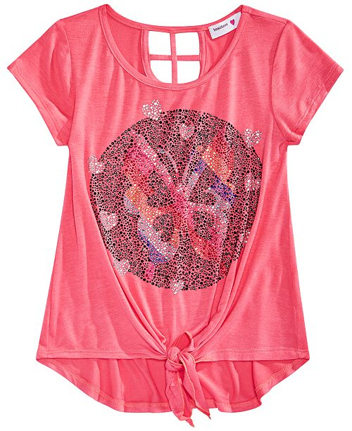 Beautees Big Girls Butterfly Tie-Front Top