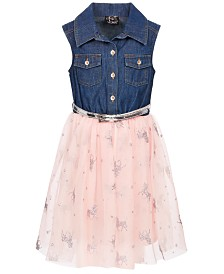 Pink & Violet Little Girls Denim Unicorn-Print Shirtdress