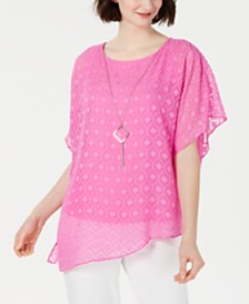 JM Collection Asymmetrical Necklace Top, Created for Macy's